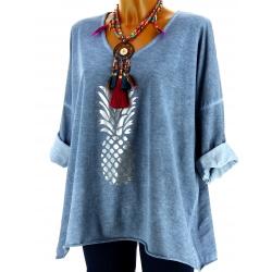 Tunique tee shirt femme grande taille bleu jean ANANAS