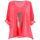 Tunique tee shirt femme grande taille corail ANANAS