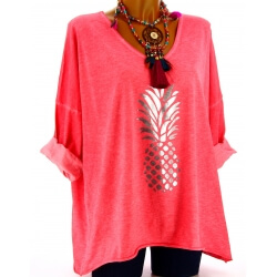 Tunique tee shirt femme grande taille corail ANANAS