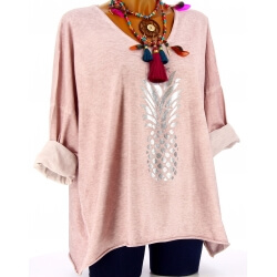 Tunique tee shirt femme grande taille rose ANANAS