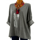 Tunique tee shirt femme grande taille gris ANANAS