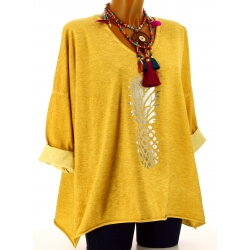 Tunique tee shirt femme grande taille safran ANANAS