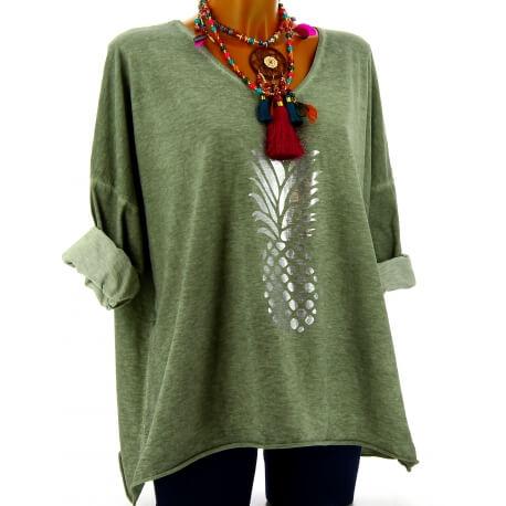 Tunique tee shirt femme grande taille kaki ANANAS