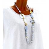 Sautoir long collier perles verre ethnique C42