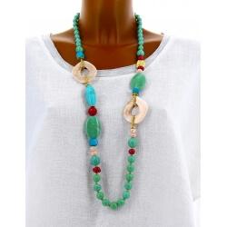 Sautoir long collier perles verre ethnique C43