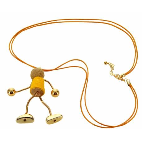 Sautoir long bohème métal doré C56