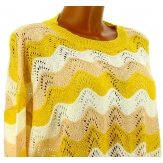Pull femme dentelle coton bohème jaune LAURETTE