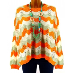 Pull femme dentelle coton bohème orange LAURETTE