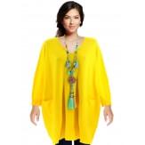 Pull grande taille femme long bohème citron FABIENNE