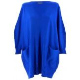 Pull grande taille femme long bohème bleu royal FABIENNE