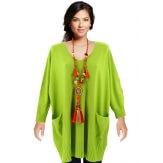 Pull grande taille femme long bohème vert FABIENNE