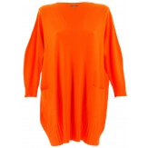 Pull grande taille femme long bohème orange FABIENNE