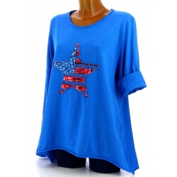 Tunique grande taille tee shirt brodé sequins bleu USA