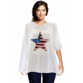 Tunique grande taille tee shirt brodé sequins blanc USA