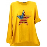 Tunique grande taille tee shirt brodé sequins jaune USA