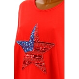 Tunique grande taille tee shirt brodé sequins rouge USA