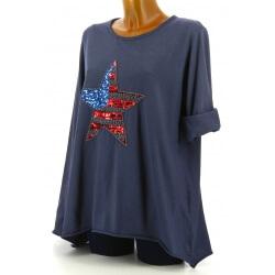 Tunique grande taille tee shirt brodé sequins bleu jean USA