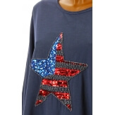 Tunique grande taille tee shirt brodé sequins bleu jean USA