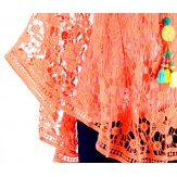 Poncho cape dentelle macramé été corail HELENE