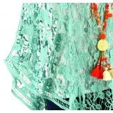 Poncho cape dentelle macramé été vert HELENE