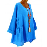 Tunique grande taille bohème chic lin bleu roi GARY