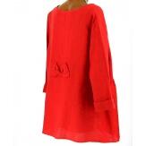 Tunique grande taille bohème chic lin rouge GARY