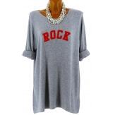 Pull tunique long femme grande taille gris ROCK