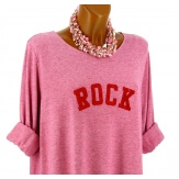 Pull tunique long femme grande taille framboise ROCK