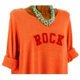 Pull tunique long femme grande taille orange ROCK