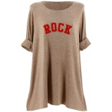 Pull tunique long femme grande taille taupe ROCK