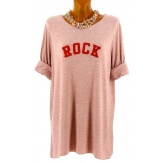 Pull tunique long femme grande taille rose ROCK