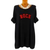 Pull tunique long femme grande taille noir ROCK