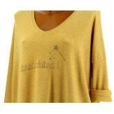 Pull tunique femme bohème imprimé jaune FEE