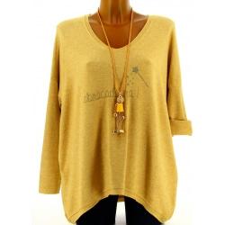 Pull tunique femme bohème imprimé jaune FEE 5dbda04ad2c4