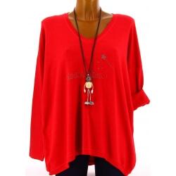 Pull tunique femme bohème imprimé rouge FEE