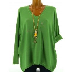 Pull tunique femme bohème imprimé vert FEE