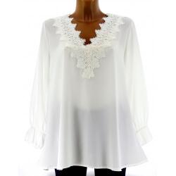 Tunique blouse chic crêpe dentelle blanc NIRINA