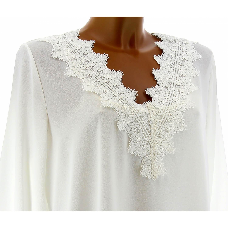 Tunique blouse chic crêpe dentelle blanc NIRINA d6b181aec88