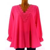 Tunique blouse chic crêpe dentelle fushia NIRINA