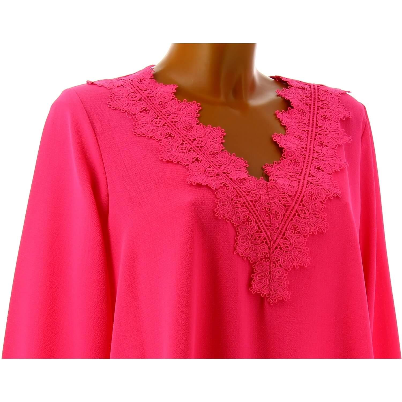 Tunique blouse chic crêpe dentelle fushia NIRINA 7d84f94468c