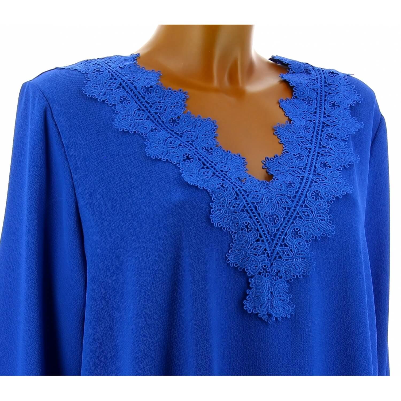 Tunique blouse chic crêpe dentelle bleu royal NIRINA 9b984f71b3b
