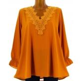 Tunique blouse chic crêpe dentelle ocre NIRINA