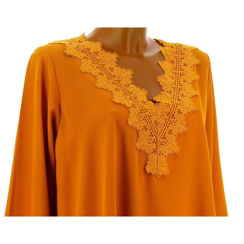 Tunique blouse chic crêpe dentelle ocre NIRINA 16674fd0eec