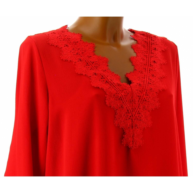 Tunique blouse chic crêpe dentelle rouge NIRINA e9a62240ef4