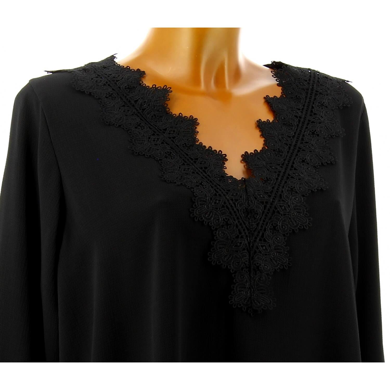 Tunique blouse chic crêpe dentelle noir NIRINA d1d37dc3aae