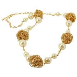 Collier long sautoir perles métal bohème chic C69