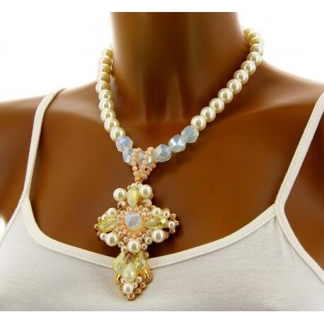 Collier femme couture création perles bohème chic C79-Bijoux fantaisie-CHARLESELIE94