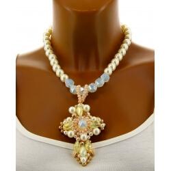 Collier couture création perles bohème chic C79