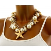 Collier couture perles coquillages bohème chic C80