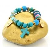 Bracelet bohème chic perles verre bois B1